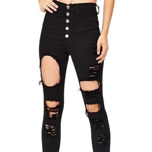 vibrant ripped stretch black jeans high waist 3